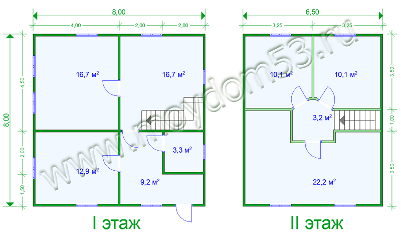 Планировка дома 8х8 метров