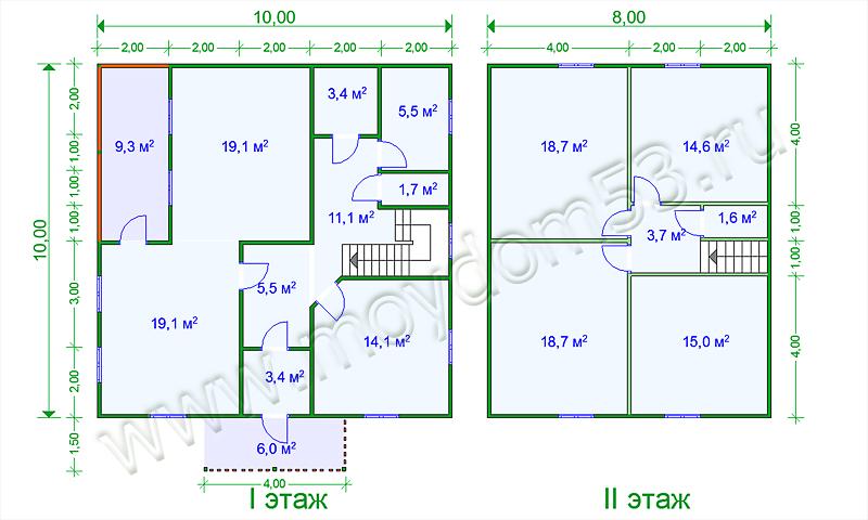 Планировка дома 10х10 метров