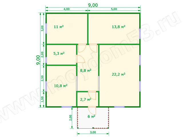 План одноэтажного дома 9 на 9